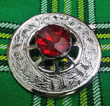 "Traditional Scottish Kilt Fly Plaid Brooch Red Stone Chrome Finish 3""/Metal"