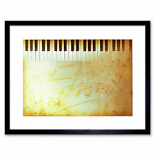 Painting Illustration Abstract Piano Keyboard Music Framed Print 12x16 Inch