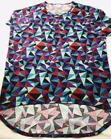 Lularoe Vivid Colors Geometric Triangles Blue Red Purple Perfect T Shirt Top XS