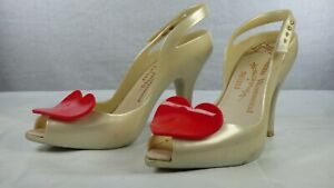 Vivienne Westwood Anglomania Melissa Lady Dragon Heart Pearl Red Heels Shoes 6