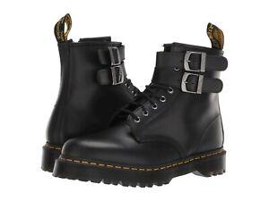 Women's Shoes Dr. Martens 1460 ALT Leather Buckle Boots 24633001 BLACK SMOOTH
