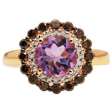 14K ROSE GOLD BROWN CHAMPAGNE DIAMOND PINK AMETHYST ROUND HALO ENGAGEMENT RING