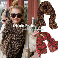 Celebrity Oversized Extra Long Leopard Print Scarf Tassel Hem Silk Cotton -ac27
