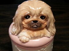 Pekinese Porcelain Dog Treat Cookie Jar Ceramic Figurine Quality Dnc Collectible
