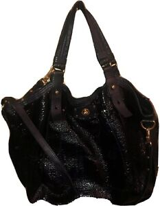 MARC BY MARC JACOBS Black Patent Pebbled Leather Embossed-Tote/Crossbody/2 Strap