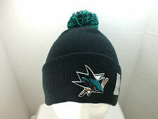 San Jose Sharks Embroidered Beanie Pom/Top cuffed Knit winter Hat NEW by Zephyr