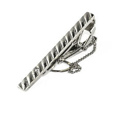 Mens Tie Pin Clip Silver Plated Rhinestone Fathers Gift In Gift Bag CL003