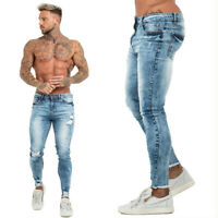 GINGTTO 2020 Men Skinny Jean Slim Fit Ripped Distressed Stretch Wash Denim Pant