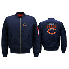 Men's Chicago Bears Pilot Bomber Jacket Flying Tigers Flight Thicken Coat Jacket
