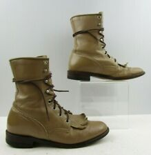Ladies Justin Tan Leather Granny Roper Lace Up Western Boots Size : 7.5 B