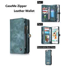 Zipper Wallet QH PU Leather Purse Flip Case Separable Magnetic Back Cover Pouch