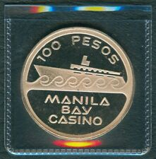 Philippine Manila Bay Casino 100 Pesos Token / Medal SILVER 20.4g PROOF Coin UNC