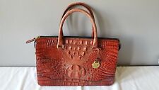 Brahmin Red Melbourne Crandall Croco Embossed Leather Satchel Handbag Purse