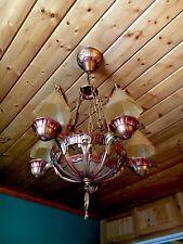 Antique Art Deco Lincoln Slip Shade Smoke Bell Chandelier Fixture Copper Gold