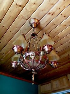 Antique Art Deco Lincoln Slip Shade Smoke Bell Chandelier Fixture Copper Gold