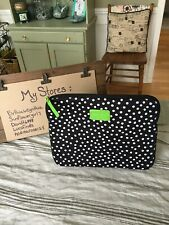 KATE SPADE TABLET PADDED CASE BLACK W/WHITE POLKA LIME GREEN LEATHER LOGO/TAB