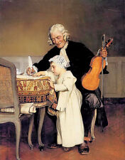 Oil painting eduard charlemont - the music lesson old man with child on canvas