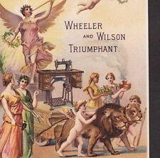 Wheeler & Wilson Sewing Machine 1890 Angel Lion Cherub Antique Advertising Card