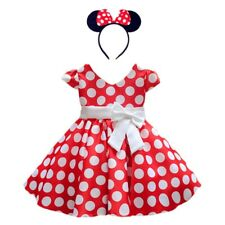 DH Girls Toddlers Cap Sleeves Skirt Vintage Polka Dot Dress With Headband 2-10Y