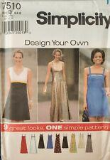 Simplicity Design Your Own pattern 7510 MIsses'/Petite Dress size 4, 6, 8 uncut