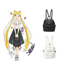 Sailor Moon Samantha Luna Cat Leisure Backpack White Black Gilr Shoulders Bags