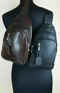 Echt Leder Cityrucksack Crossbag Crossbody Rucksack Umhängetasche Herren Damen