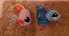 Littlest Pet Shop Fish Lot Glitter Blue Guppy & Pink Striped Ocean Creatures LPS