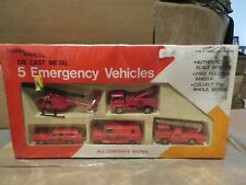 Yatming Super Wheels 5 Emergency Vehicles Helicopter Van Tow Ladder Truck MISB