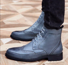 Mens Brogue British Wingtip Carve Formal Oxford Shoes Lace Up Casual Ankle Boots