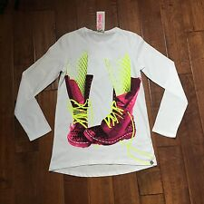 "Miss Grant Girls White Long Sleeve Tshirt With Studded Jeweled ""BOOTS"" NWT SZ 11"