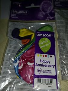 """Job lot happy anniversary Latex Balloons 11"""".  There 6 in a packet x17 = 102"""