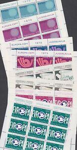 Yugoslavia 1970-80 Mint MNH Minisheets Europa CEPT Communications Madrid Doves
