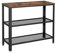 Industrial Style 3-Layer Cross Porch Table 2-Layer Iron Net Black Walnut Color