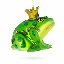 Frog in Crown Blown Glass Christmas Ornament