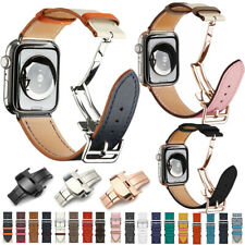 Genuine Leather Band Deployment Buckle Single Tour Bracelet Strap for iWatch 543