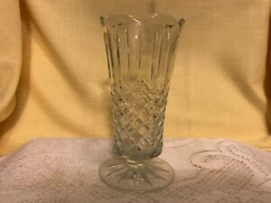 """Cut Glass Footed Vase 7"""" Tall. Deep Onate Cuts! Ribbed to Diamond Cut"""