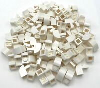 Lego 100 New White Bricks Modified 1 x 2 x 1 1/3 with Curved Top Pieces