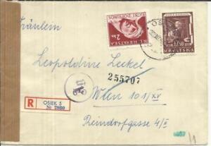 Croatia-Sc#RA4(POSTAL TAX)#60-OSIJEK 22/III/44-Registered(label)WWII CENSOR