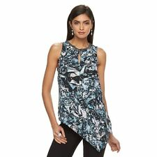 Womens Jennifer Lopez Ice Crystals Blue Black Embellished Asymmetrical Top Small
