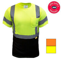 Hi Vis ANSI Class 3 Safety T Shirt Moisture Wicking Mesh Short Sleeve Reflective