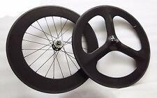 Carbon Tri Spoke Front Wheel 88mm clincher Rear wheel road/track bike Wheels