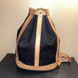 Vintage Dooney&Bourke tan leather trim cotton canvas bucket backpack purse