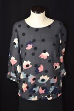Boden Gray Polka Dot Floral Lotus Flower Top Blouse 3/4 Sleeve US 2 UK 6