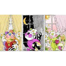 "24"" Fabric Panel - Loralie Designs Kitties in the Window Large Cat Blocks"