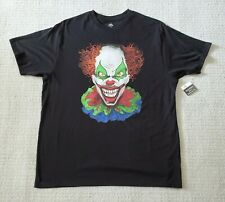 Mens Way to Celebrate Halloween T-Shirt Black with Scary Clown XL XG  46 - 48