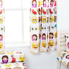 "Emoji Emoticons Children's Kids Curtains 66""x54"" Tiebacks Nursery Bedding Blinds"