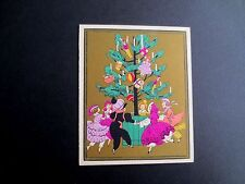 Unused Art Deco Pochoir Xmas Greeting Card from France, Dancing Around the Tree