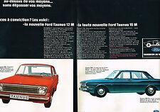 PUBLICITE ADVERTISING 124  1966  FORD TAUNUS 12M &  15M  ( 2 pages)