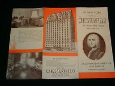 Antique c1920s NEW YORK HOTEL CHESTERFIELD Brochure, 130 West 49th St.