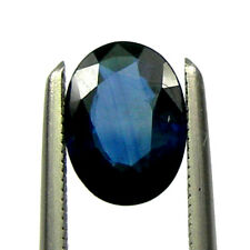 0.86 carats Deep Blue Natural Australian Sapphire Loose Gemstone 7x5mm Oval Cut